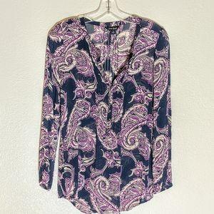 Lucky Brand Long-sleeved Paisley Dress Blouse